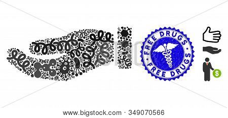 Pandemic Collage Hand Icon And Rounded Corroded Stamp Seal With Free Drugs Phrase And Serpents Icon.