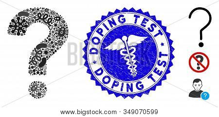 Infected Mosaic Question Icon And Round Rubber Stamp Seal With Doping Test Caption And Clinic Icon.