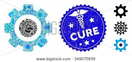 Outbreak Mosaic Gear Icon And Round Corroded Stamp Seal With Cure Text And Serpents Symbol. Mosaic V
