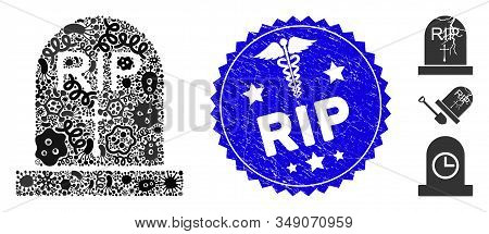 Infected Collage Rip Icon And Round Corroded Stamp Seal With Rip Caption And Healthcare Icon. Mosaic