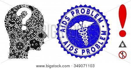 Contagion Collage Problem Icon And Round Distressed Stamp Seal With Aids Problem Phrase And Health C
