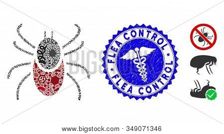Infected Mosaic Mite Tick Icon And Round Distressed Stamp Watermark With Flea Control Phrase And Hea
