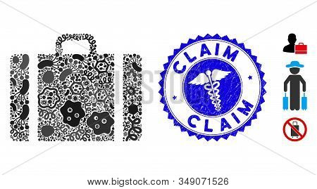 Viral Mosaic Baggage Icon And Round Rubber Stamp Watermark With Claim Text And Health Care Icon. Mos