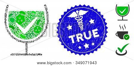 Viral Mosaic True Drink Glass Icon And Rounded Rubber Stamp Seal With True Phrase And Serpents Icon.