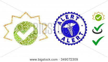 Viral Mosaic True Alert Icon And Round Corroded Stamp Seal With Alert Phrase And Medical Icon. Mosai