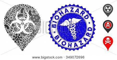 Pandemic Mosaic Biohazard Marker Icon And Round Grunge Stamp Seal With Biohazard Text And Medic Icon