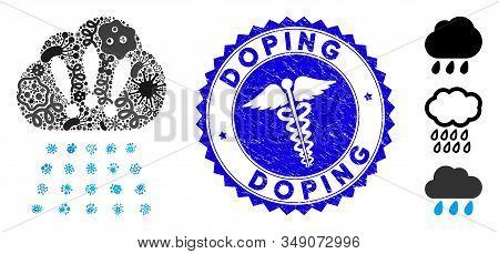 Fever Collage Storm Cloud Icon And Rounded Grunge Stamp Seal With Doping Phrase And Serpents Icon. M
