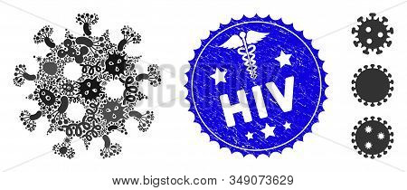 Viral Mosaic Hiv Virus Icon And Rounded Corroded Stamp Watermark With Hiv Caption And Clinic Icon. M