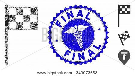 Virus Mosaic Final Flag Icon And Round Grunge Stamp Seal With Final Caption And Caduceus Sign. Mosai