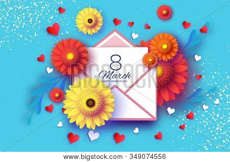 Gerbera Flowers With Mail. Origami Layered Floral Bouquet. Happy Womens Day, Mothers Day Or Birthday