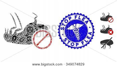 Pathogen Mosaic Stop Flea Icon And Round Distressed Stamp Seal With Stop Flea Caption And Caduceus S