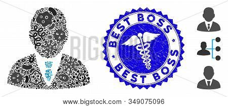 Microbe Mosaic Boss Icon And Rounded Grunge Stamp Seal With Best Boss Caption And Health Care Sign.