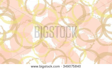 Rough Watercolor Circles Geometry Fabric Print. Round Shape Splotch Overlapping Elements Vector Seam