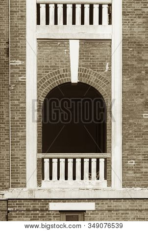 Detail Of Classic Facade With Window, Balcony And Balustrade