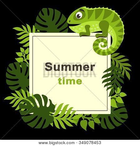 Summer Tropical Background With Palm Leaves And Cartoon Cute Iguana. Square Frame. Place For Text. T