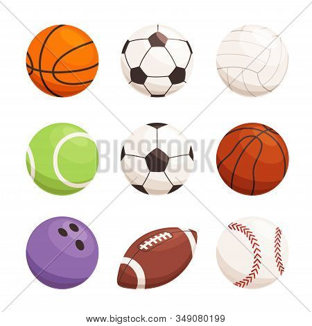 Set Of Balls For Different Sports. Sports Equipment For Football, Basketball, Handball. Modern Sport