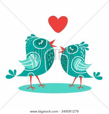 Wo Cute Blue Birds With Heart Isolated On White Background. Valentines Day Vector Illustration. Flat