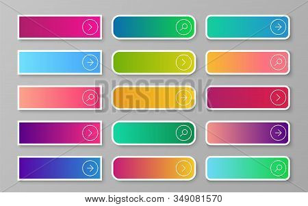 Web Gradient Button. Search, Read More, Next And Continue Submit Buttons. Flat Rectangular And Round