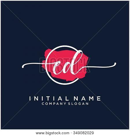 Ed Initial Handwriting Logo Design With Brush Circle. Logo For Fashion,photography, Wedding, Beauty,