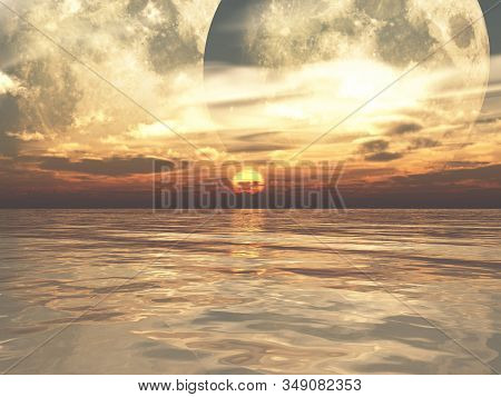 Sunrise At Another Planet 3d Illustration. Sunrise Or Sunset Sun Over Deep Sea With Two Moons And Be