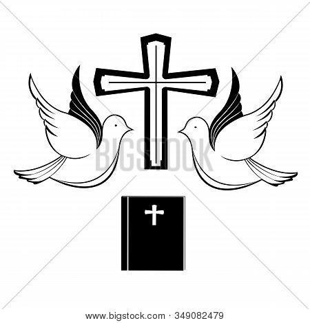 A Pair Of Pigeons Near The Cross And The Bible. Biblical Symbols. Easter Greeting Card.