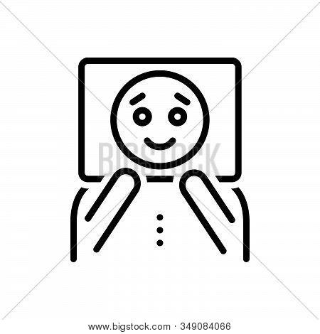 Black Line Icon For Pretend Dream Imaginary Unreal Fancitful Bogus Face Mask