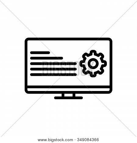Black Line Icon For Programmatic Coding Digital Technology Software Computer Website App