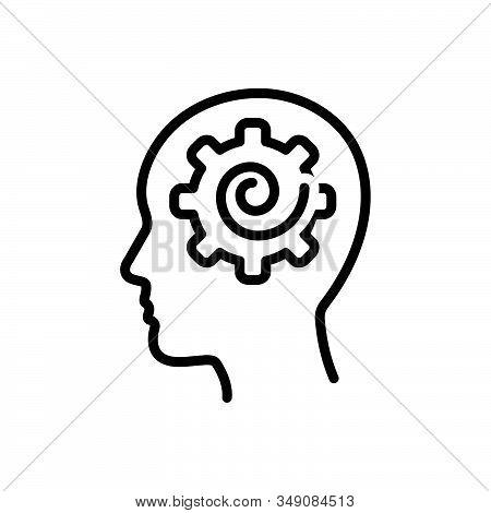 Black Line Icon For Psych Psychologist Brain Memories Mental  Person Problem
