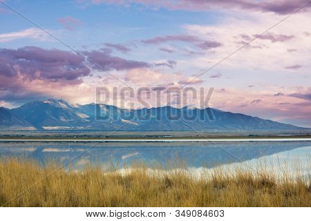 Scenic view of the Great Salt Lake landscape at sunset