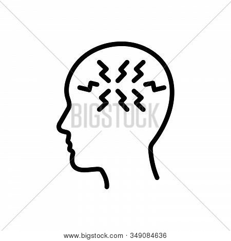 Black Line Icon For Ptsd Post-traumatic-stress-disorder Symptoms Mental Health Anxiety-disorder Shel