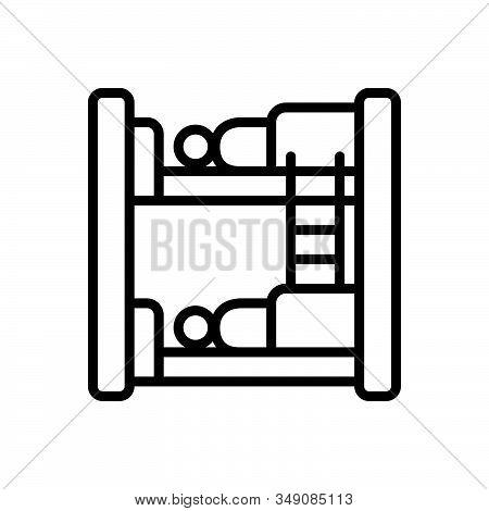 Black Line Icon For Hostel Dormitory Hostel Dorm Bedroom Dormer Hotel Residential Sleep