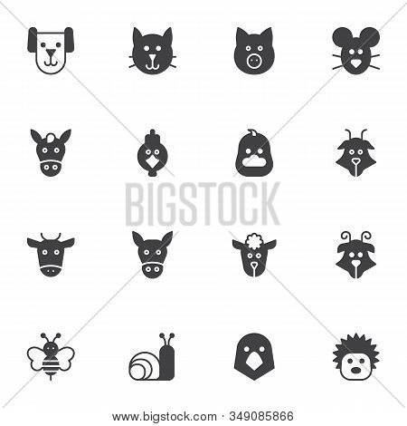 Farm Animals Vector Icons Set, Modern Solid Symbol Collection, Animals Heads Filled Style Pictogram
