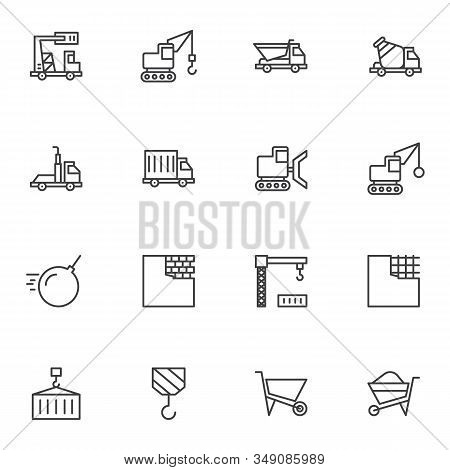 Construction Industry Line Icons Set. Linear Style Symbols Collection, Outline Signs Pack. Vector Gr