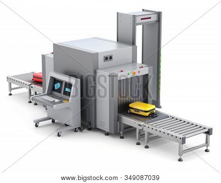 Airport Security Checkpoint With X-ray Baggage Scanner And Metal Detector Gate - 3d Illustration