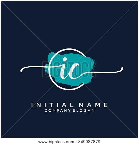 Ic Initial Handwriting Logo Design With Brush Circle. Logo For Fashion,photography, Wedding, Beauty,