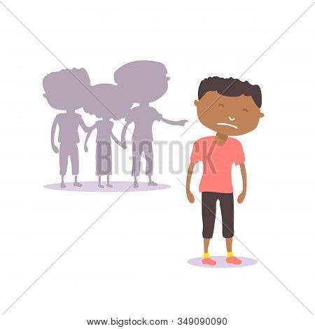 Non-binary Person Isolated On White Background. Social Problems: Homophobia, Offending, Bullying, Fl