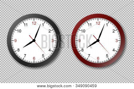 Realistic Office Clock. Wall Round Watches With Time Arrows And Clock Face Isolated 3d Vector Black