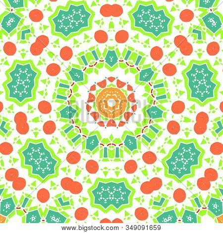 Arabic Geometric Design, Mosaic Of A Vector Kaleidoscope. Curved Doodling Backgrounds. A Traditional
