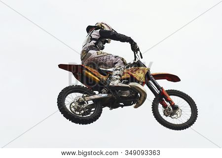 Tyumen, Russia - June 10, 2009: Red Bull X-fighters Exhibition Tour. Freestyle Motocross. Daniel Bod