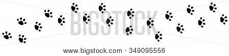 Dog Cat Paw Print Track Diagonal. Footpath Trail Silhouette. Black Footprint Set. Wildlife Animal. W