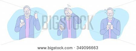 Aged, Online, Addiction, Gambling, Play, Set. Aged Senior Playing Gambling Game Online On Phone. Adv