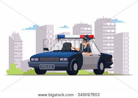 Cop Patrolling Street Flat Vector Illustration. Smiling Police Officer Driving Car With Flasher Cart