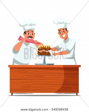 Cakes Making Process Flat Vector Illustration. Cheerful Professional Confectioners In Uniform Cartoo