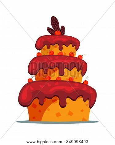 Delicious Three Tier Cake Flat Vector Illustration. Sweet Multi Layered Dainty With Creamy Icing And