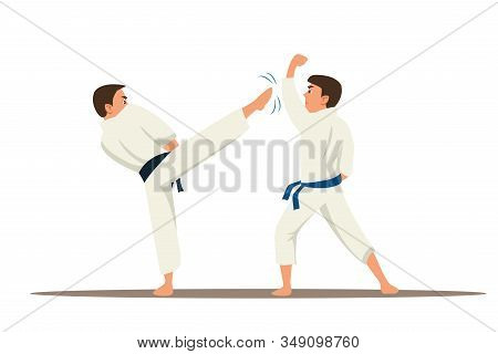 Karate Fighters Flat Vector Characters. Asian Traditional Martial Arts Championship. Sportsmen In Ki