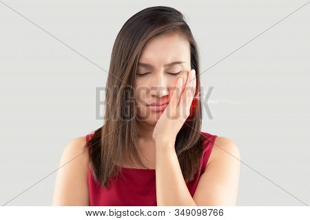 Have A Hypersensitive Teeth, Suffering From Toothache. Beautiful Young Woman Suffering From Toothach