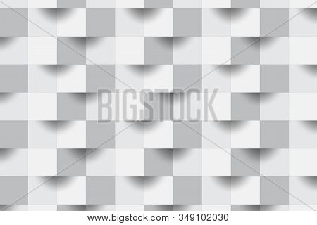 3d Abstract Zoom Focus White Geometric Shape From Gray Cubes.brick Wall Squares Texture.panoramic So