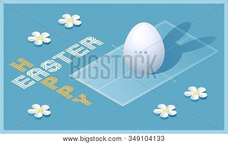 Happy Easter Greeting Card. Isometric Illustration With 3d Easter Egg As A Ping Pong Ball And Ping P