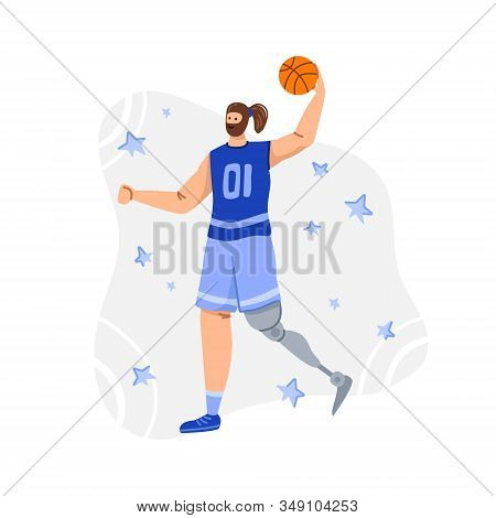 Disabled Basketball Player With Ball, Young Muscular Man With Prosthetic Leg, Physical Disorder Or I