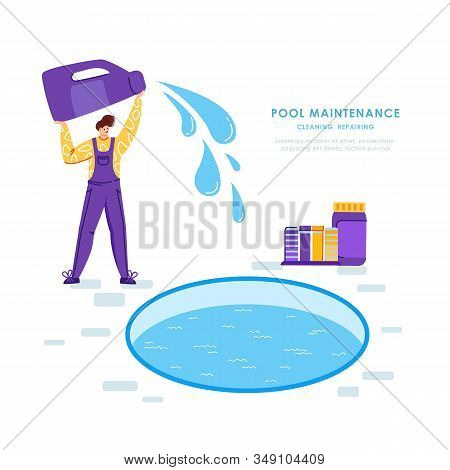 Swimming Pool Maintenance Or Cleaning Service, Young Man In Uniform Clean And Chlorinates Water In S